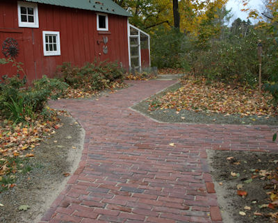 Pathway to antique barn/chicken coop