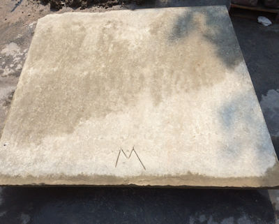 Masons who installed stone at the 19th century signed their work with an initial