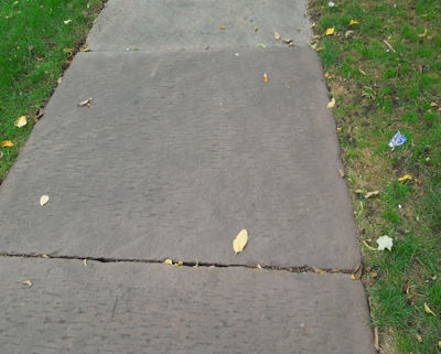 Original antique stone sidewalk in historic city