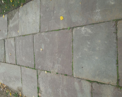 Salvaged stone walkway on a historic site is authentic period material