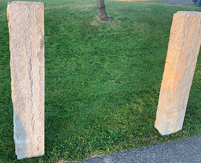 Square granite stone posts for gate posts, hitching posts or property markers. Size is ~ 8in x 8in x 5ft high